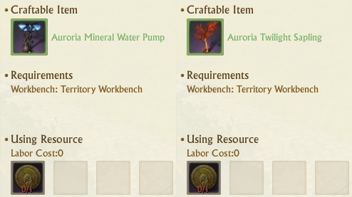Crafting recipe for obtaining Pump and Sapling