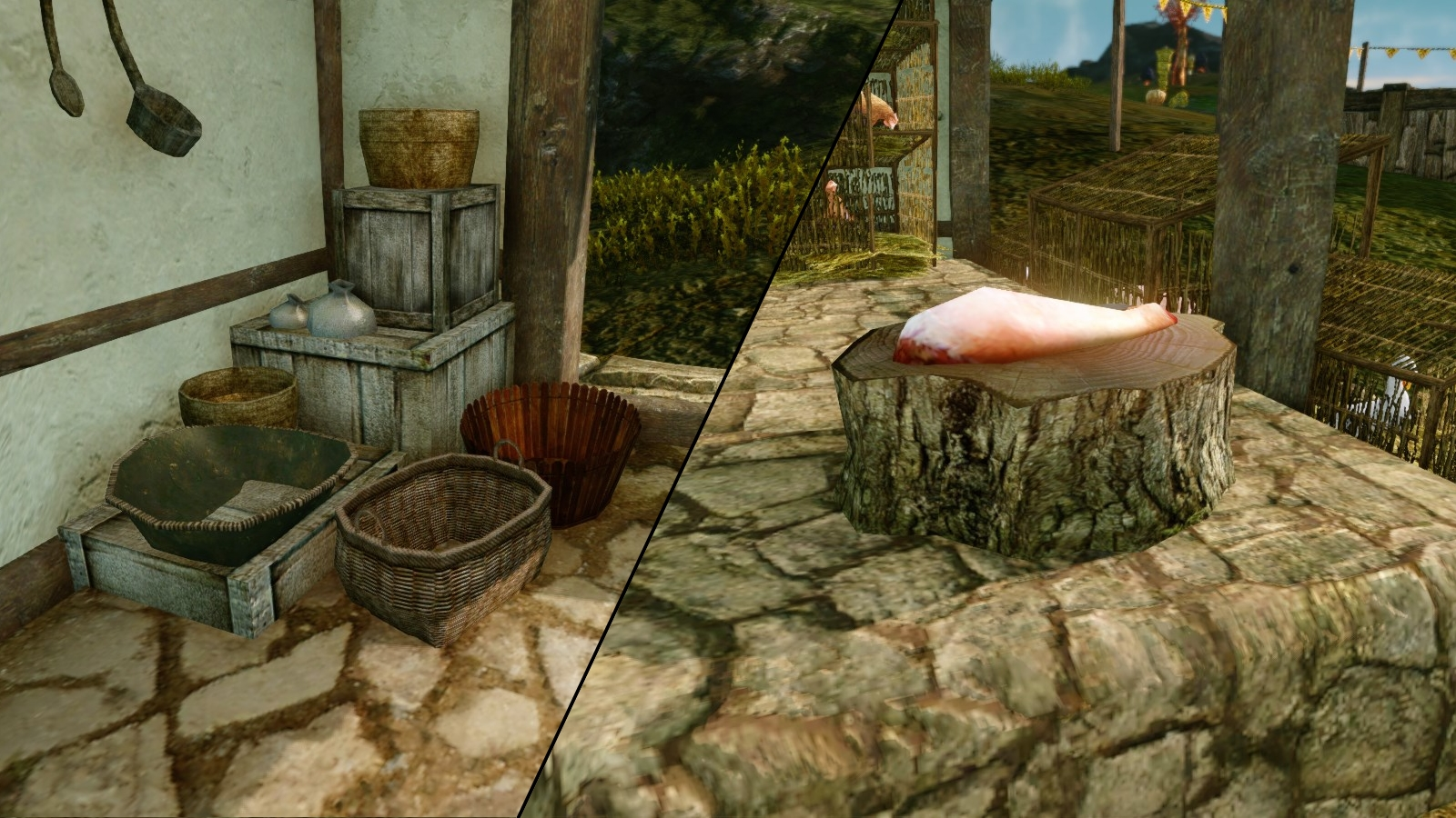 Empty fruit stand and available meat quest